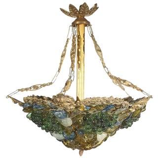 Art Deco Art Glass & Brass Chandelier