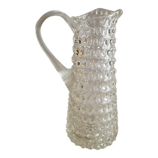 Czech Hobnail Glass Pitcher