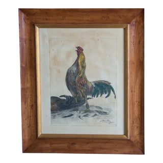 Framed Hand Colored Rooster Print