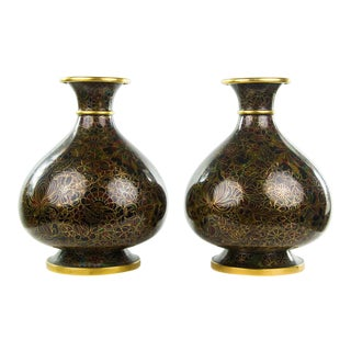 Vintage Chinese Cloisonne Thousand Flower Vases - a Pair