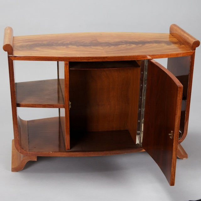 French Art Deco Burl Wood Side Table Cabinet - Image 4 of 8
