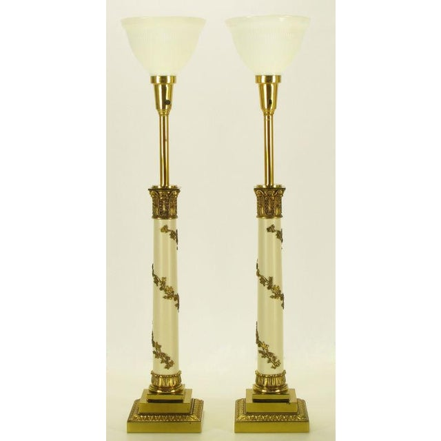 Pair Stiffel Neoclassical Brass & Ivory lacquered Table Lamps. - Image 2 of 10