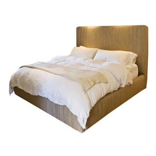 Custom Made Upholstered King Bed in Oatmeal Linen