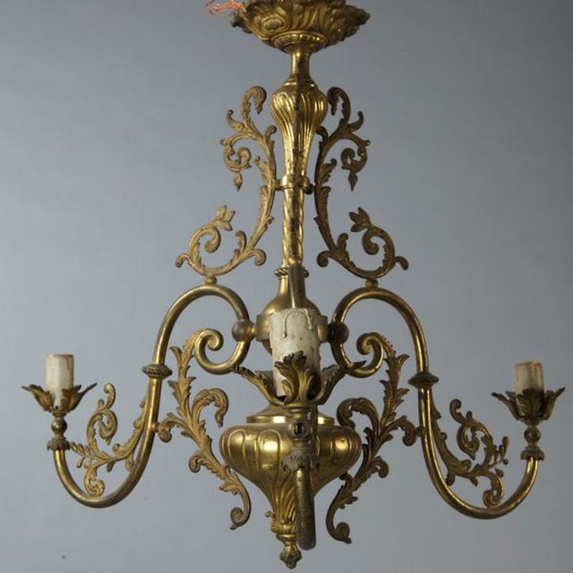 French Three Light Solid Cast Brass Chandelier - Image 3 of 8