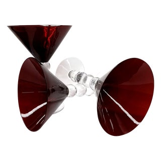 Vintage Red Martini Glasses - Set of 3