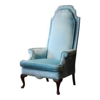 Light Blue Velvet High Back Chair