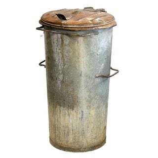 Vintage Hinged Lid Rubbish Bin