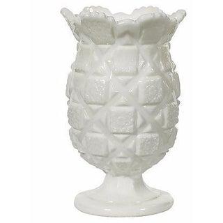 1960s White Glass Blocked Vase