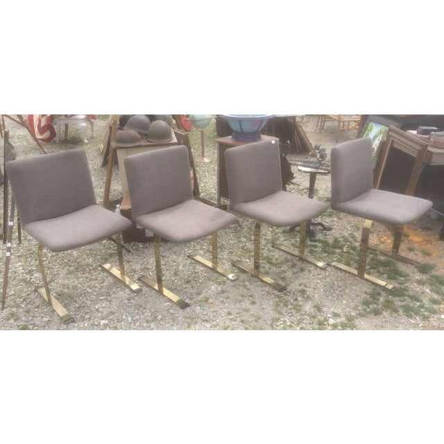 Saporiti Brass & Gray Chairs - Set of 4 - Image 2 of 6
