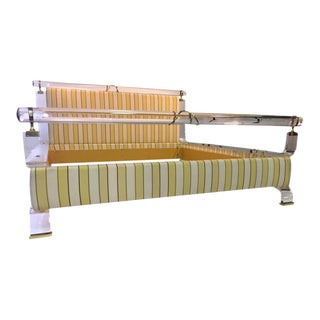 Charles Hollis Jones Lucite & Brass Upholstered Bed