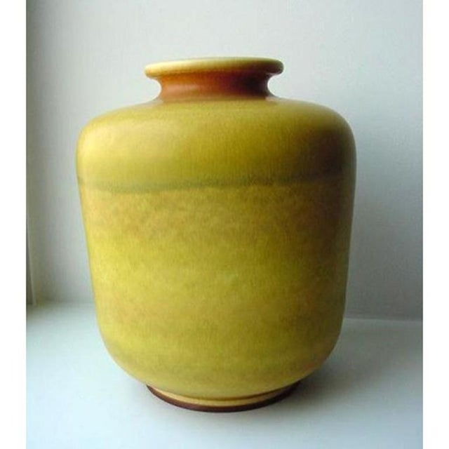 Large Yellow Stoneware Vase by Berndt Friberg for Gustavsberg - Image 3 of 4