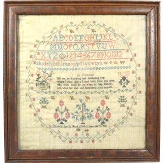 School Girl Needlework Linen Sampler, Made by Elizabeth Spark, Finished June 7, 1803