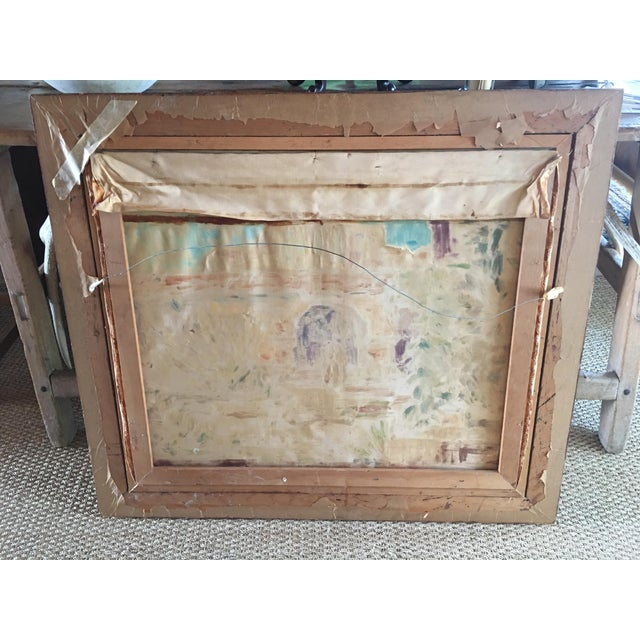 Large Vintage Mission Oil Painting on Silk Faille - Image 8 of 9