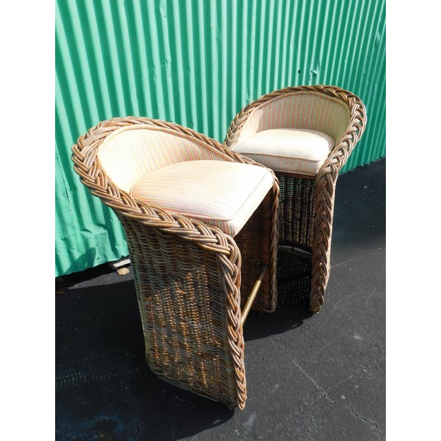 Boho Chic Wicker Stools - A Pair - Image 2 of 9