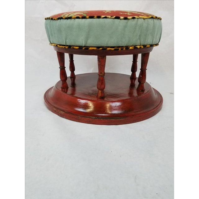 Ottoman With Wood Pedestal ~ Chinoiserie pedestal ottoman chairish