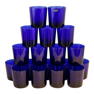Cobalt Blue Cristallina Glasses Tumblers - Set of 18