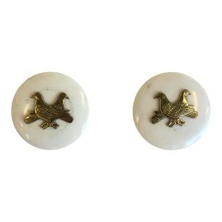 Marble & Brass Mid-Century Door Handles - Pair