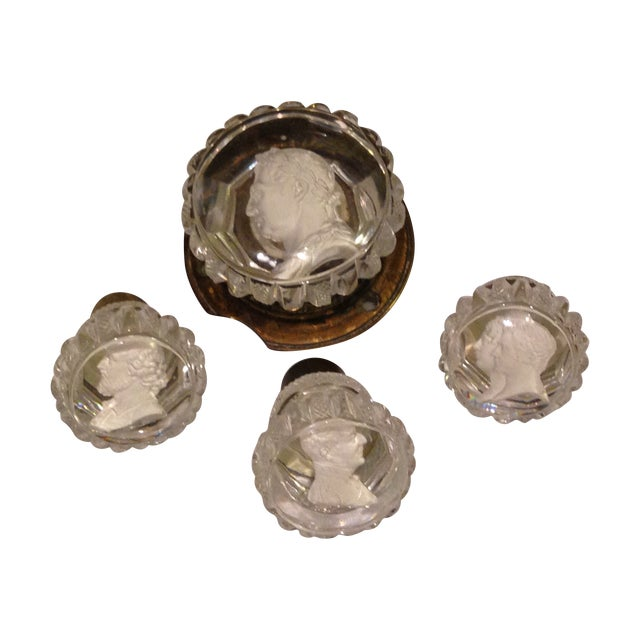 1850s Reverse Intaglia Door Knobs - Set of 4 - Image 1 of 8