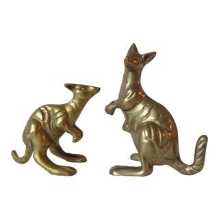 Mid-Century Brass Kangaroos - A Pair