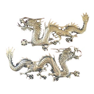 Mid-Century Brass Chinese Dragon Wall Ornaments- A Pair