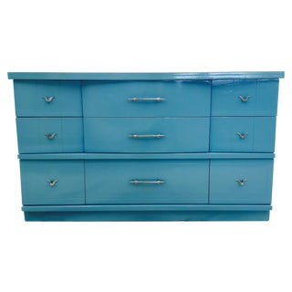 Mid-Century Lacquered Blue & Chrome Dresser