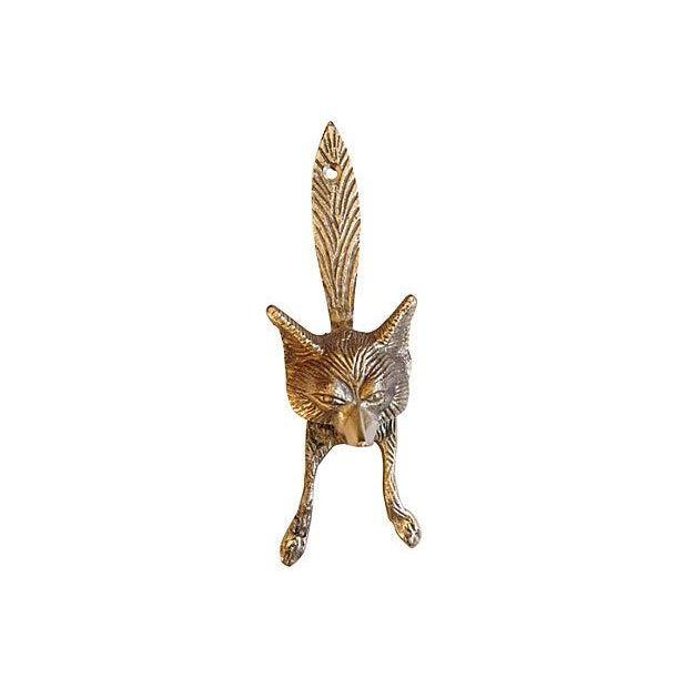 Vintage English Brass Fox Door Knocker - Image 4 of 4