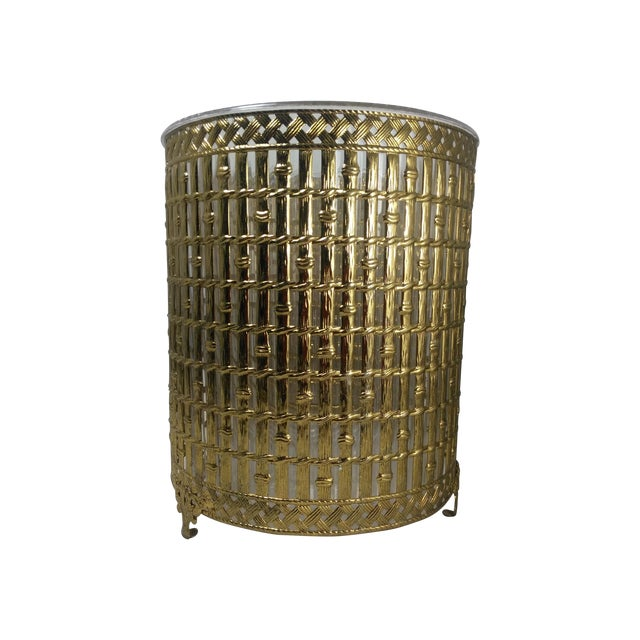 Gold Filigree Chinoiserie Faux Bamboo Waste Basket - Image 1 of 8