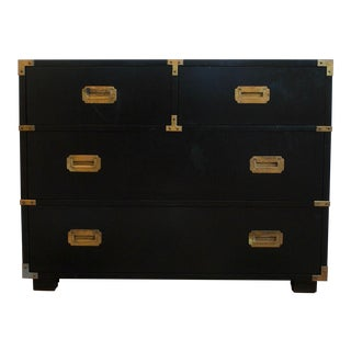 Lane Vintage 4-Drawer Black Campaign Chest