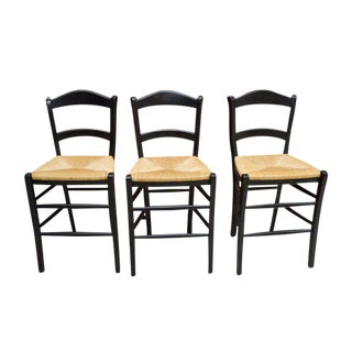 Rush Seat Counter Stools - Set of 3