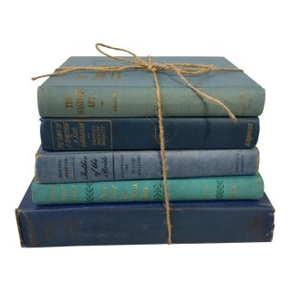 Blue Vintage Clothbound Books - Set of 5
