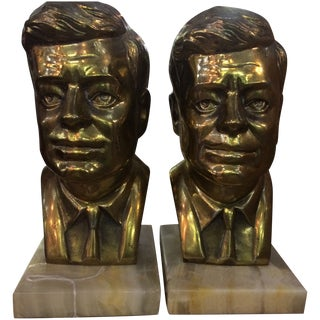 Kennedy Brass Marble Base Bookends - A Pair