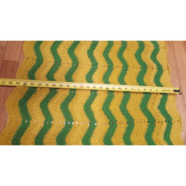 Vintage Handmade Crocheted Green/Yellow Striped Afghan Throw Blanket - Image 6 of 7