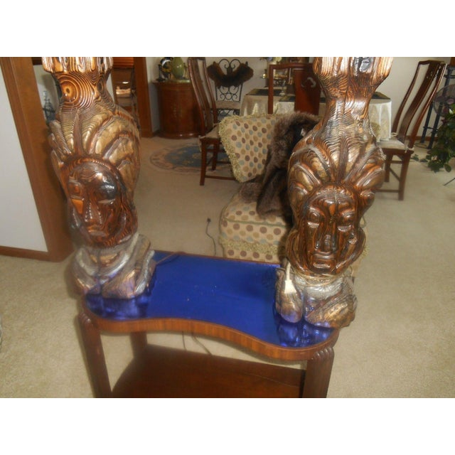 Image of Hand Carved Mid-Century Face Table Lamps - Pair