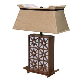 Vintage Sarreid LTD Mirrored Glass Starburst Table Lamp