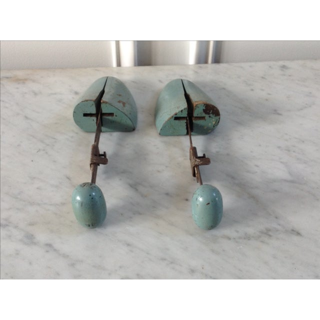 Image of Blue Wooden Shoe Molds - A Pair