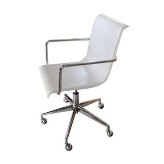 CB2 White Leather Desk Chair