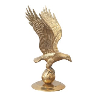 Vintage Brass Eagle on Ball Statue