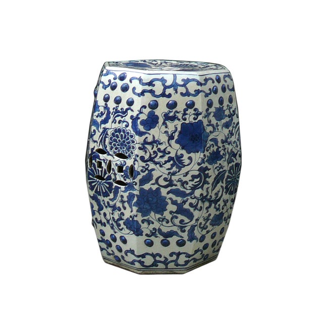 Blue And White Porcelain Flower Stool Table - Image 3 of 5