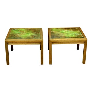 Henredon Reverse Painted Glass Tables - a Pair