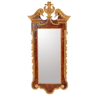 A GEORGE II MAHOGANY AND GILTWOOD PIER MIRROR