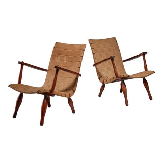 Pair of Lounge Chairs with Webbed Seating, Sweden, 1940s