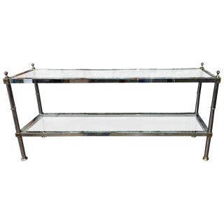 STRIKING MAISON JANSEN STYLE CHROME AND BRASS ACCENT CONSOLE