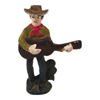 Vintage Cast Iron Cowboy With Guitar Bottle Opener