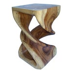 Image of Hand Carved Solid Teak Stool/Side Table