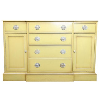 Vintage Light Yellow Breakfront Sideboard