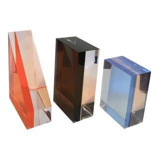 Lucite Art Sculptures - Set of 3