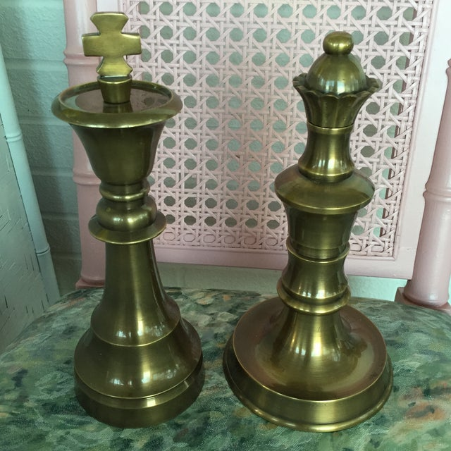 Image of Brass Finials Rook & King Chess Pieces - Pair