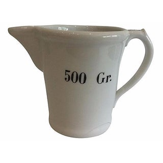 Antique French Measuring Porcelain Pitcher
