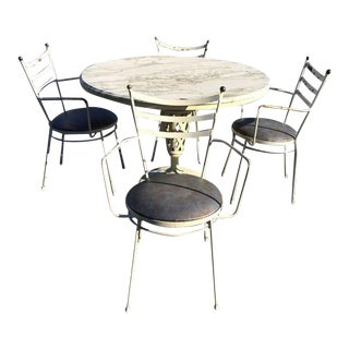 Marble-Top Iron Patio Table & Chairs