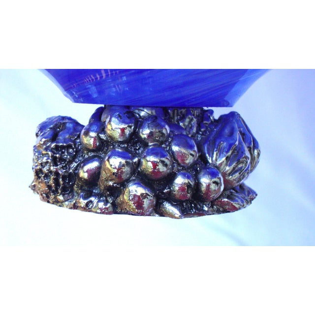Deco Gothic Murano Blue Silver Wavy Glass Bowl - Image 6 of 10